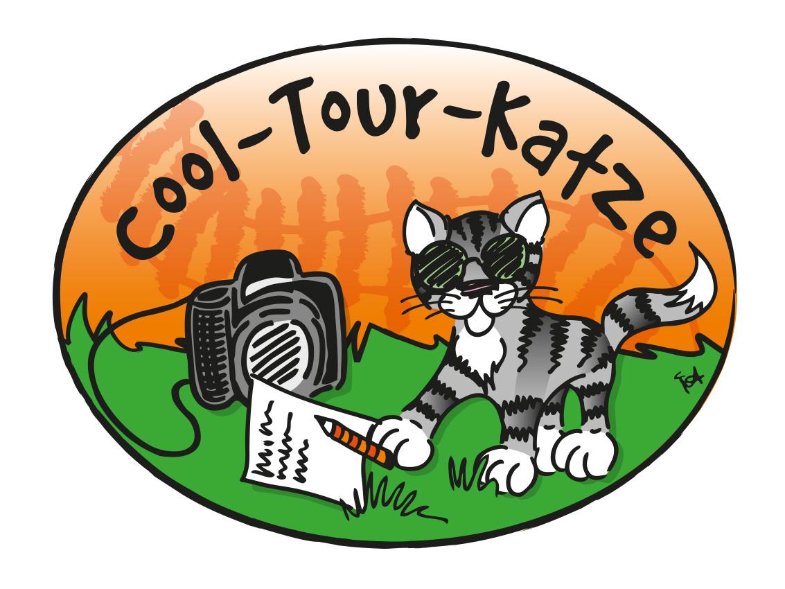 Katze mit Buch Logo Cool Tour Katze