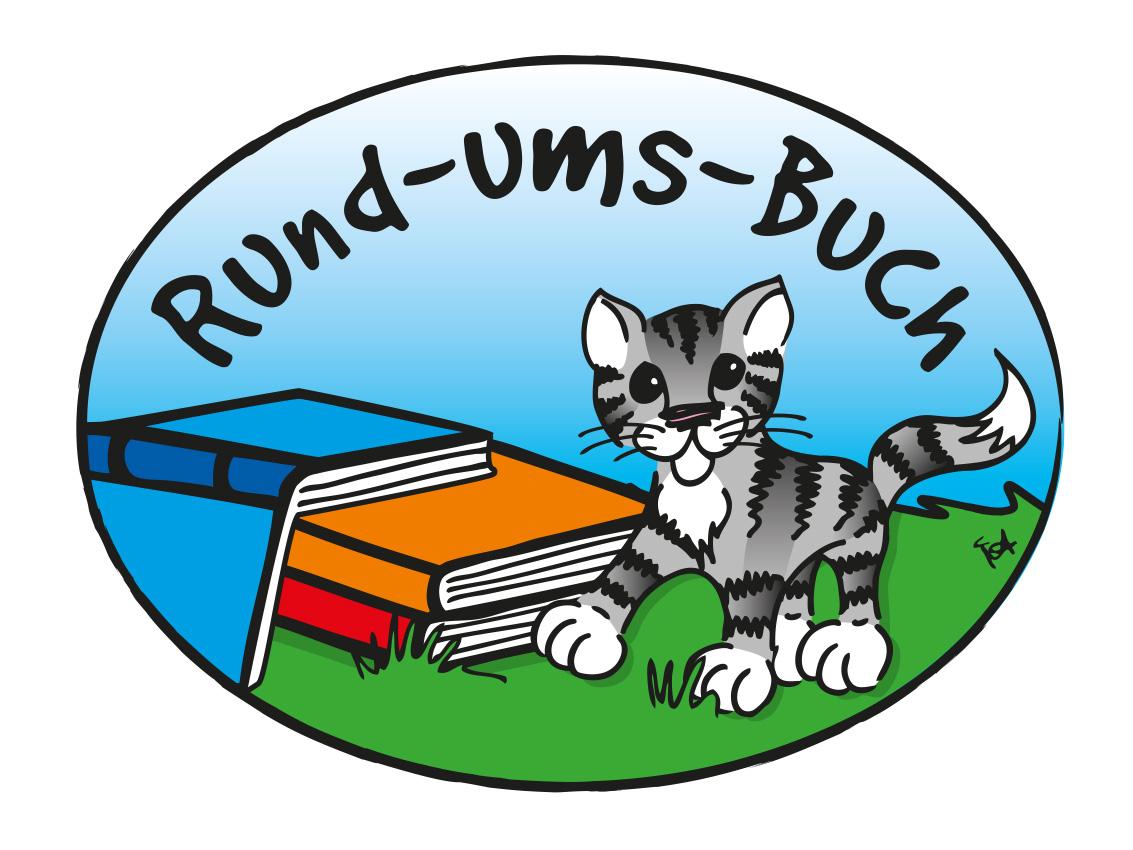 Katze mit Buch Logo Rund ums Buch
